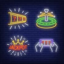 Neon Casino Signs, Roulette, 777, Jackpot, and Mobile Casino